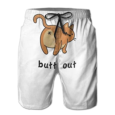 a08f986ad2a9e Men's Cat Butt Out Summer Printed Quick Dry Bathing Suits Swimwear Swim  Trunks Beach Shorts at Amazon Men's Clothing store: