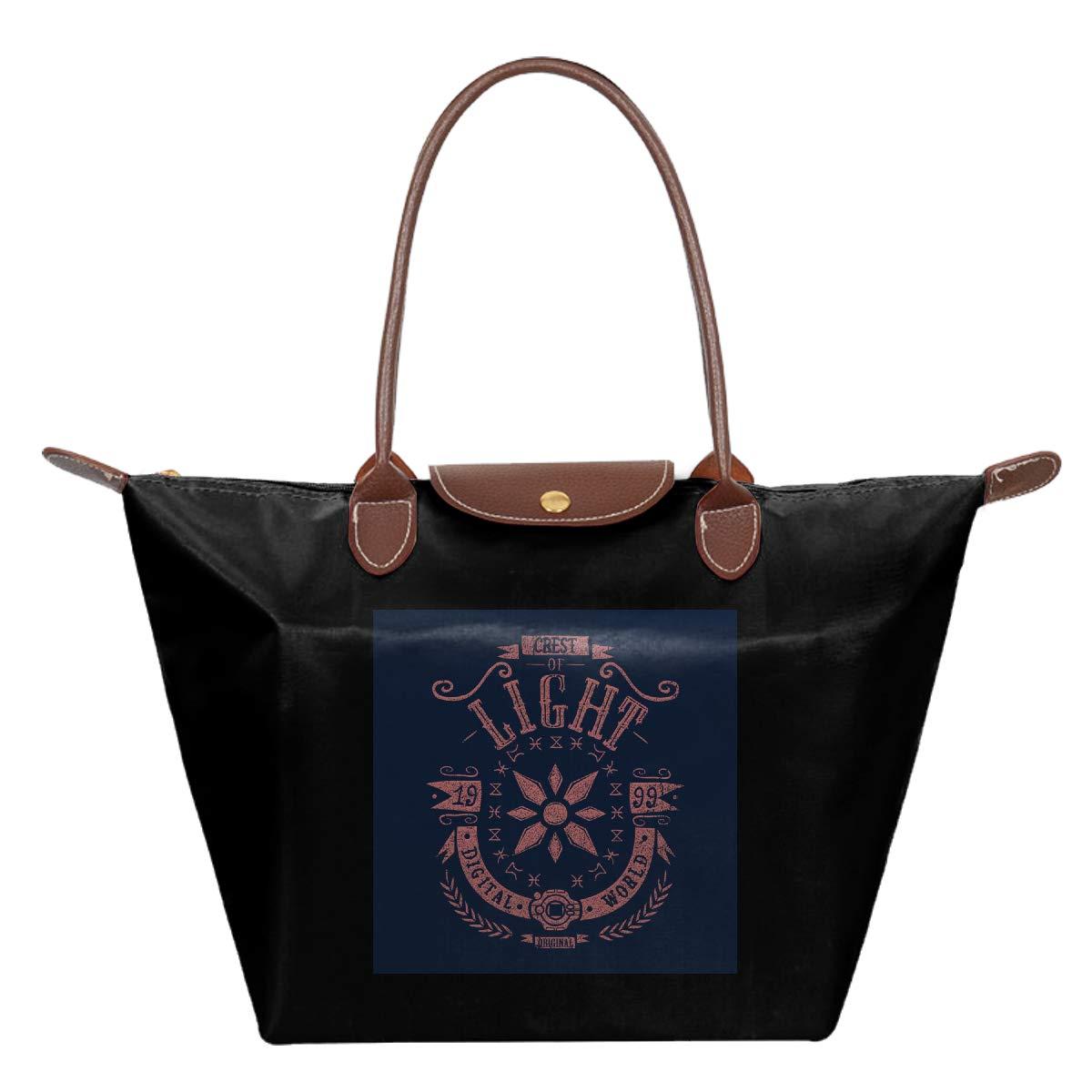 Dig-imon Crest Of Light Waterproof Leather Folded Messenger Nylon Bag Travel Tote Hopping Folding School Handbags