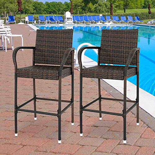 Nova Microdermabrasion Rattan Wicker Bar Stool Outdoor Backyard Chair Patio Furniture Chair with Armrest – Set of 2 (2)