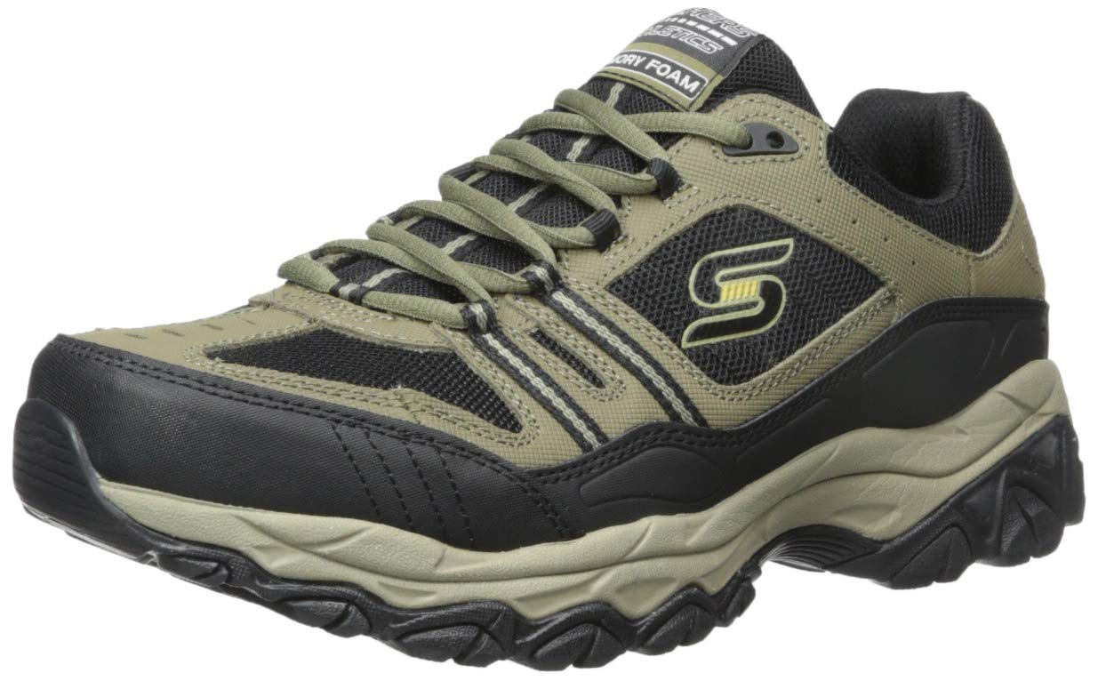Skechers Sport Men's Afterburn Strike Memory Foam Lace-Up Sneaker, Black, 8.5 4E US 50124