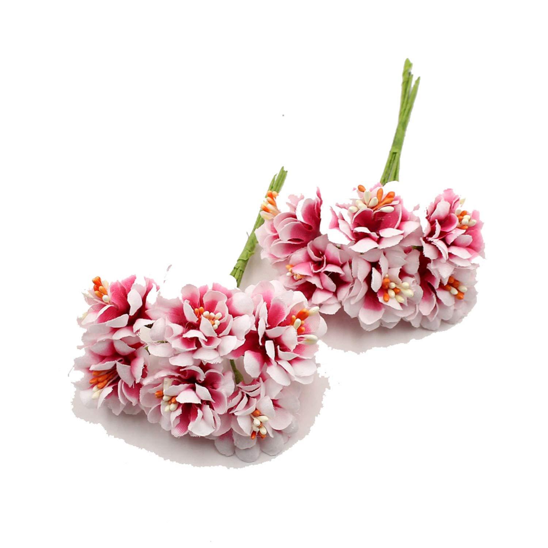 6pcs 3cm silk Rose Artificial Stamen flower Bouquet For Scrapbook