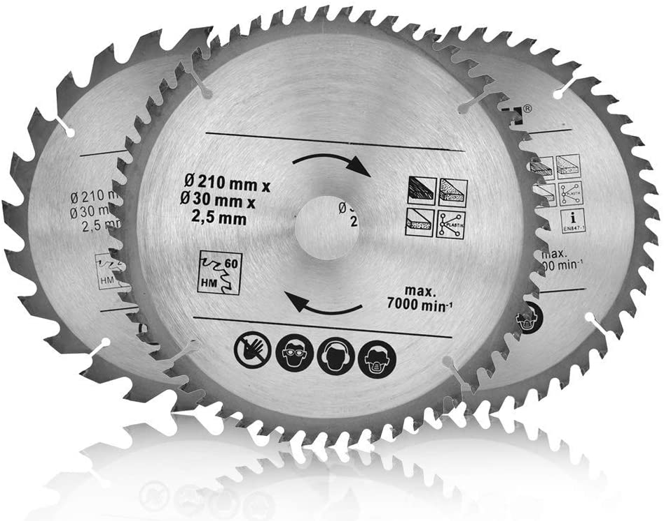 3 unidades, 210 mm, 24, 48 T, 60 T, TCT, 30 mm Disco de TCT Hojas de Sierra Circular para Madera Contrachapada