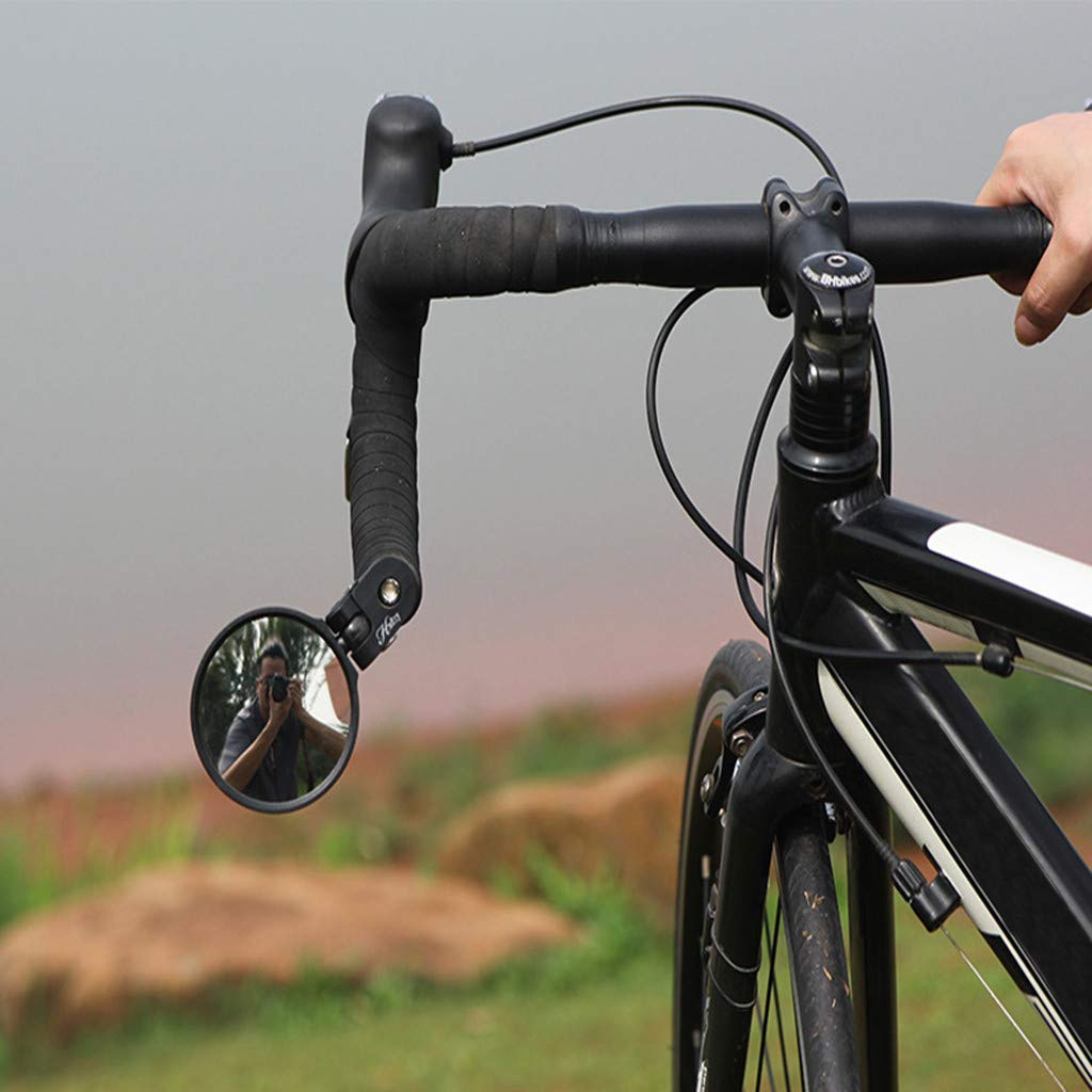 Safe Rearview Mirror Bicycle Mirror Belloc 2019 Stainless Steel Lens Handlebar Bike Mirror Cycle Mirror Black Left Side w//Reflector