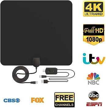 meilleure qualité pour  fabrication habile Antenne TV Intérieur Puissante, 80 Miles(130 KM) HDTV Antenne TNT  Intérieure avec Signal Amplificateur Booster, 3 Mètres de Câble Coaxial,  Pour DVB-T ...