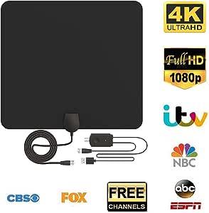 Antena de TV, Antena Interior HDTV con Portatil Amplificador, 60 ...