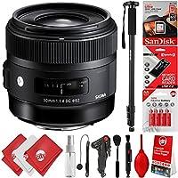 Sigma 30mm F1.4 ART DC HSM Lens for Nikon F DSLR Cameras + 16GB 17PC Bundle for D810 D750 D610 D7500 D7200 D7100 D7000 D500 D5600 D5500 D5300 D5200 D5100 D3400 D3300 D3200 and D3100