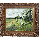 overstockArt Walking Near Argenteuil with Burgeon Gold Frame Oil Painting by Monet