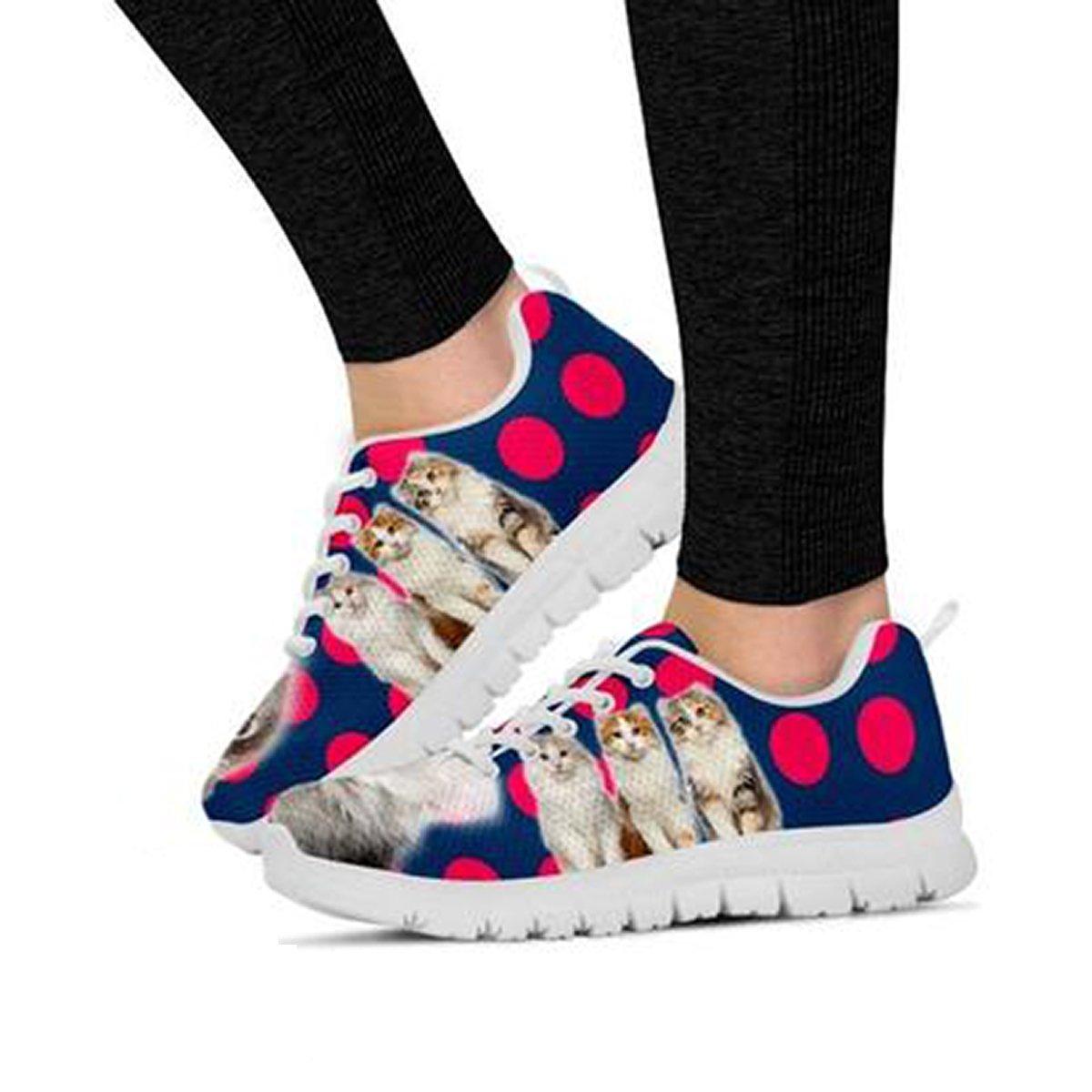 Cute American Curl Cat Print Womens Casual Running Shoes