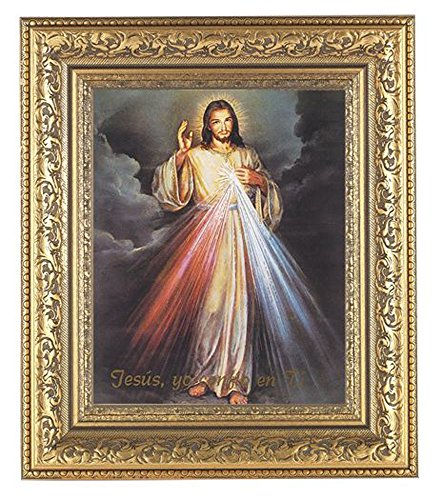 Spanish Divine Mercy Print in a Beautifully Detailed Ornate Gold Leaf Antique 12 1/2