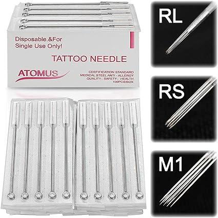 ATOMUS - 100 agujas desechables para tatuaje de acero inoxidable ...