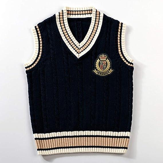 GEMVIE Boys V Neck Cotton Twist Knit Vest Sweater British School Style Sleeveless Knit Waistcoat Vest Knit Tank Top