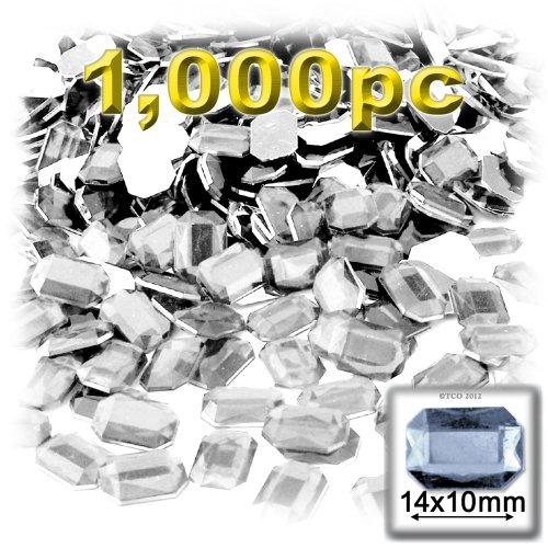 長方形の八角形Craftsコンセント1000-pieceアクリルアルミ箔フラットバックラインストーン、10by 14mm、クリアの商品画像