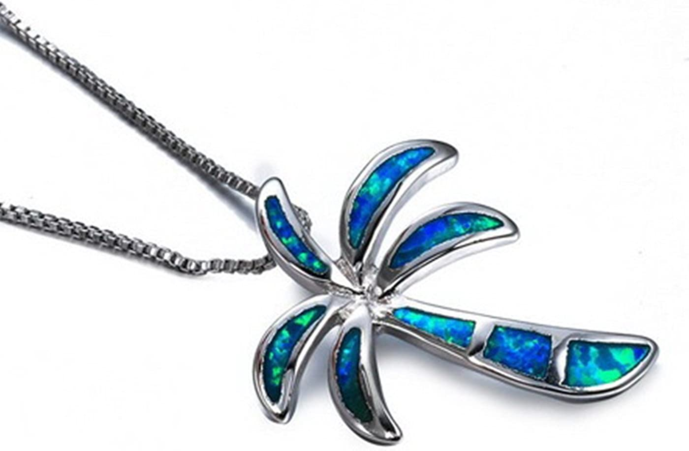 Fortonatori Created Blue Opal Dragonfly Necklace 925 Silver Pendant Necklace 18 Chain