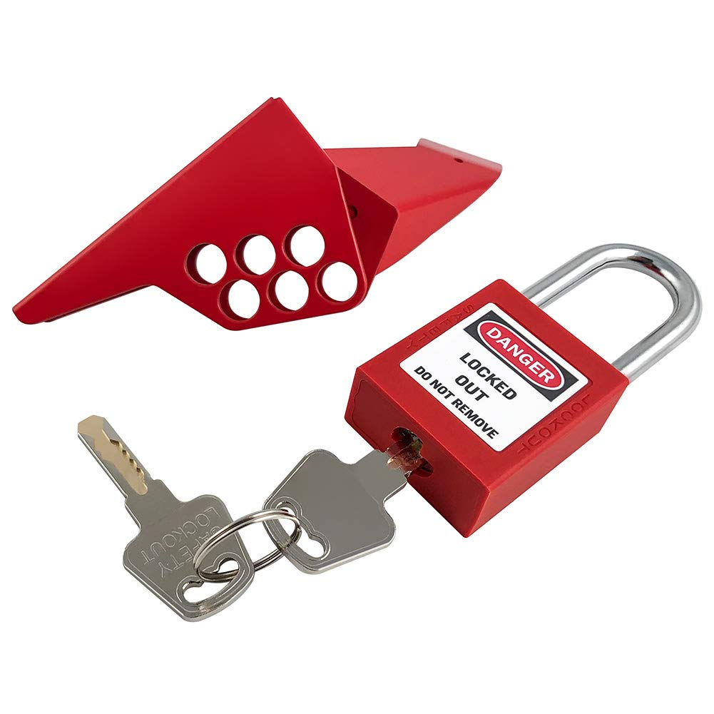 """QWORK Handle-On Ball Valves Industrial Safety Locks with Padlock, for 1/4"""" - 1"""" Outside Pipe Diameter, Red"""