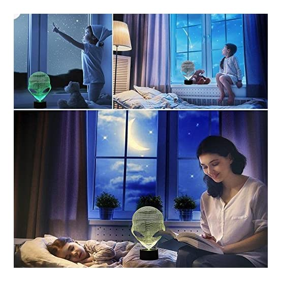Gawell 7 Color Changing Touch Switch Decoration Lamps Mothers Day Gift with Acrylic Flat /& ABS Base /& USB Cable Alien Lover Theme Toy Martian Alien 3D Birthday Gift Illusion Night Light Beside Table Lamp