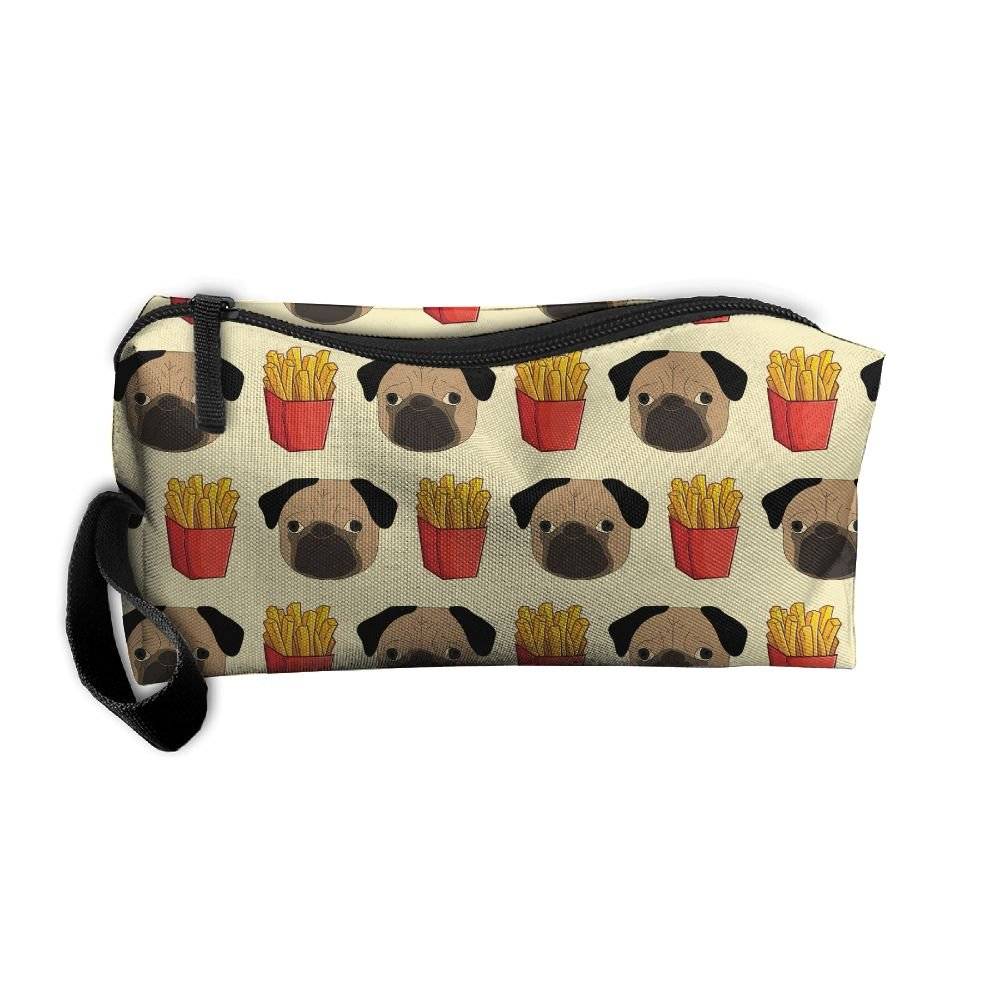 well-wreapped French Fries Pug Puppy Dog Cute Pattern Portable Make-up Receive Bag Hand Cosmetic Bag Makeup Bag Sewing Kit Medicine Bag With Hanging Zipper For Home Office Travel Camping Sport Gym Outdoor