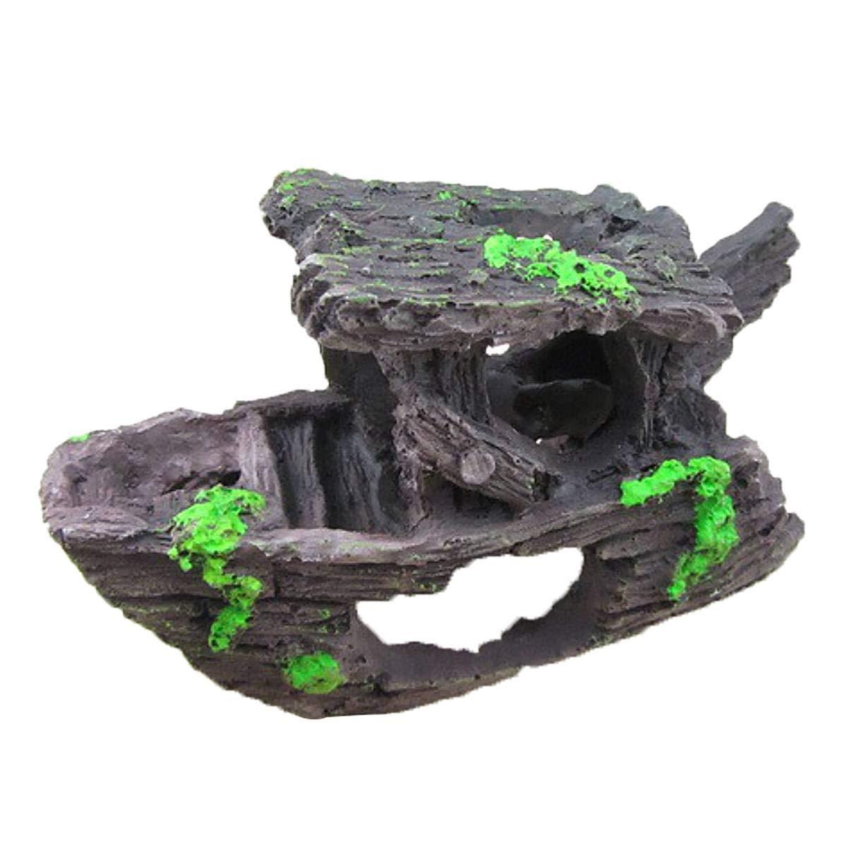 HOT Aquarium Fish Tank Resin Broken Barrel Cave Ornament Landscaping Decor  XS