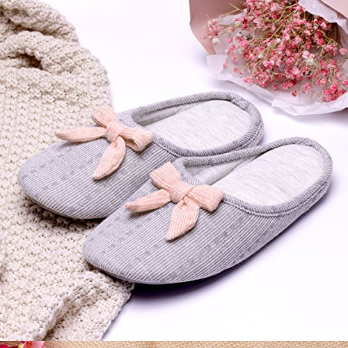 Bow Bow Knitted Slip House Slippers Womens Sole Cotton Slippers With Memory Foam Lightweight Comfort nbsp;Indoor nbsp;On Anti Shoes Grey Slip 50qxHxCBw