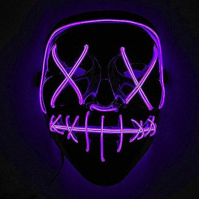 Máscaras led con luces para disfraz de color morado