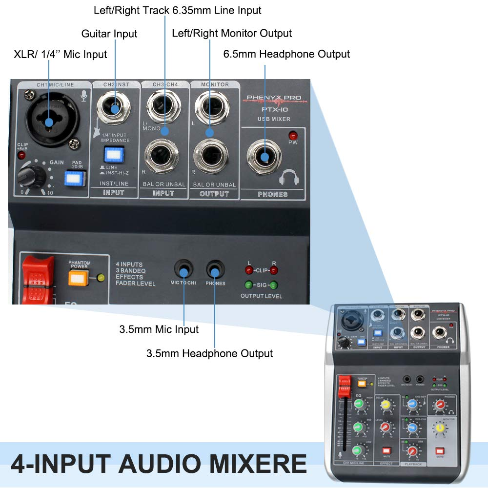 Audio USB Mixer with Effects, 4-Channel, 3-Band EQ, USB Powered and Output,  USB Audio Interface to PC and Built-in DSP, Ideal for Live Stream