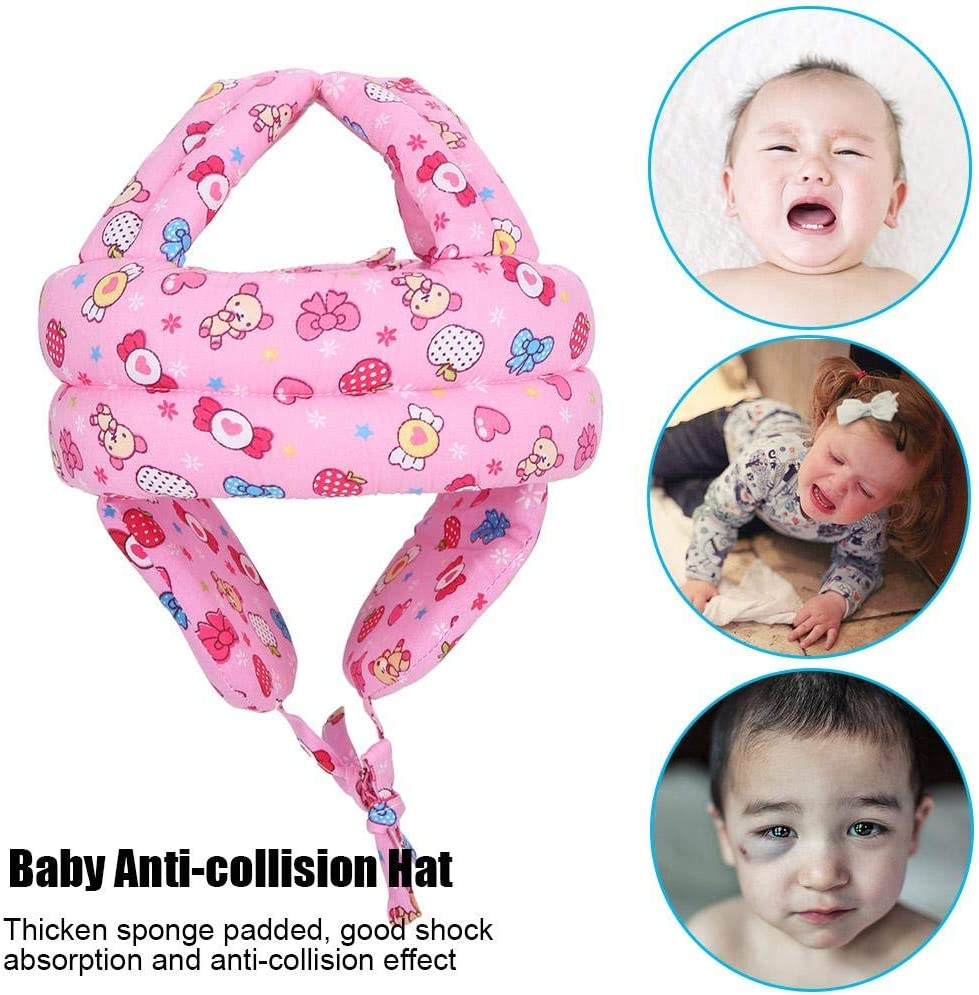 Anti-Collision Cotton Sponge Strap Safety Helmet Adjustable Loop /& Hoop Crown First Walk Hollow Design Earmuffs Photography Props Gift For 6-60 Months Toddlers Children Kids Red Baby Hat