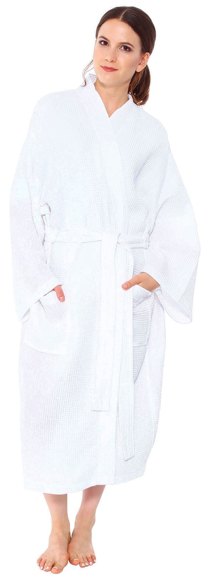 12 Bulk Lot Wholesale-cozy Cotton Style Waffle Pattern Spa & Bath Robe-sleepwear