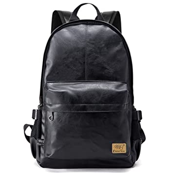 a2da9c9e4977 Image Unavailable. Image not available for. Color  ZEBELLA Vintage PU Leather  Laptop Backpack School Book Bag College Daypack