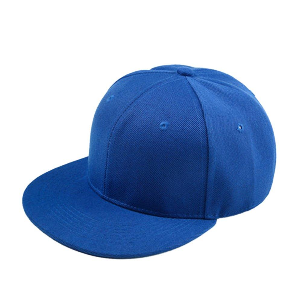 Opromo Kids Child Cotton Flat Bill Snapback Adjustable Hat, Hip Hop Baseball Cap-Royalblue-48PCS