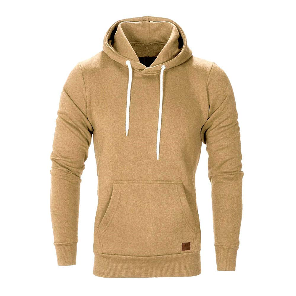 WUAI Men's Lightweight Jacket Hoodie Casual Sweatshirt Slim Fit Solid Color with Front Pocket Outwear Tops(Khaki ,US Size L = Tag XL)