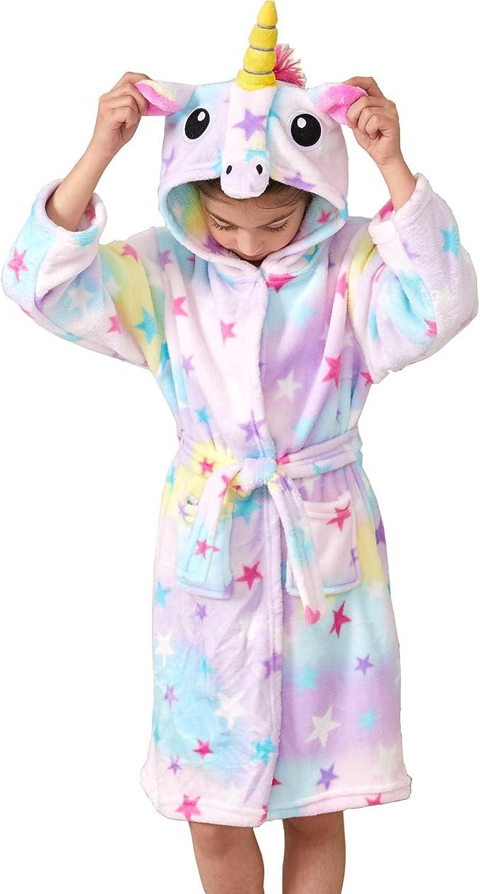 Kinder Einhorn Mädchen Jungen Bademantel Fleece Kapuze Nachtwäsche Robe Bathrobe