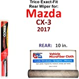 Rear Wiper Blade for 2017 Mazda CX-3 Trico Exact Fit Bundled with MicroFiber Interior