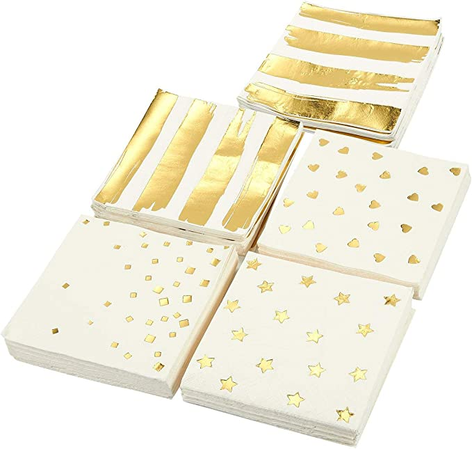 Gold Cocktail Napkins Paper Party Napkins In 5 Designs 5 X 5 Inches 100 Pack Health Personal Care Amazon Com