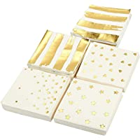 100-Pack Cocktail Napkins - Disposable Paper Party Napkins in 5 Assorted Designs Gold Foil Designs - Perfect for Birthdays, New Years, Anniversary and Special Occasions 13cm x 13cm Folded