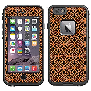 Skin Decal for LifeProof Apple iPhone 6 Case - Victorian Scroll Floral Orange on Black