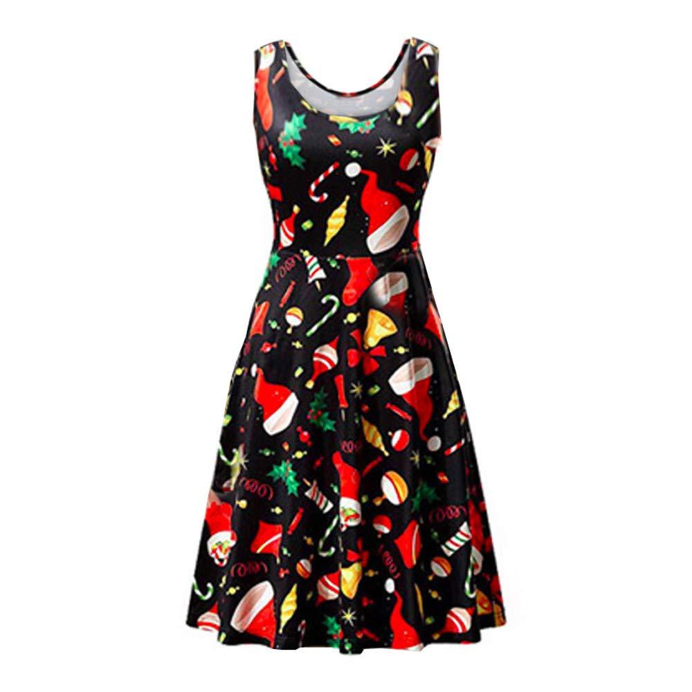 Jiayit Womens Christmas Dresses Floral Plus Size Sleeveless Vintage Tea Ball Gown Dress