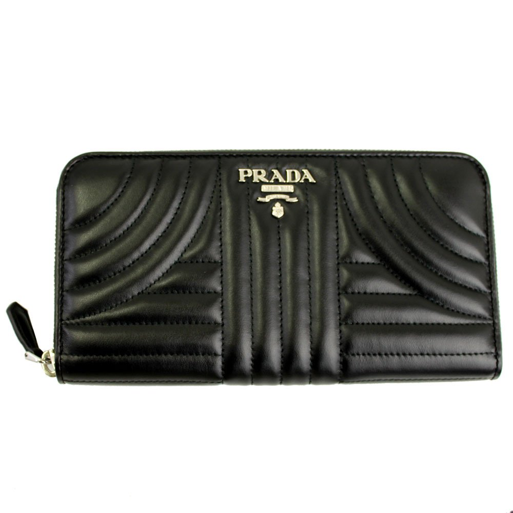 28b9d5fcd09d Prada Black Quilting Leather Long Wallet 1ML506 Nero Zip Around at Amazon  Women s Clothing store