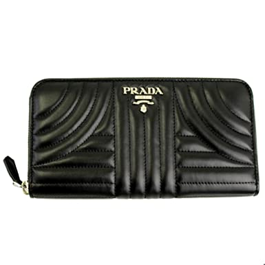 a61752d77be7cd Image Unavailable. Image not available for. Color: Prada Black Quilting  Leather Long Wallet ...