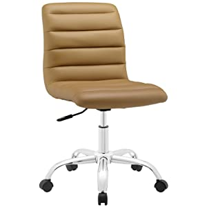 Modway Ripple Ribbed Armless Mid Back Swivel Computer Desk Office Chair In Tan