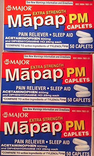 Mapap PM Extra Strength Caplets 500 mg By Major 3 Boxes of 50 Each by Mapap PM Extra Strength