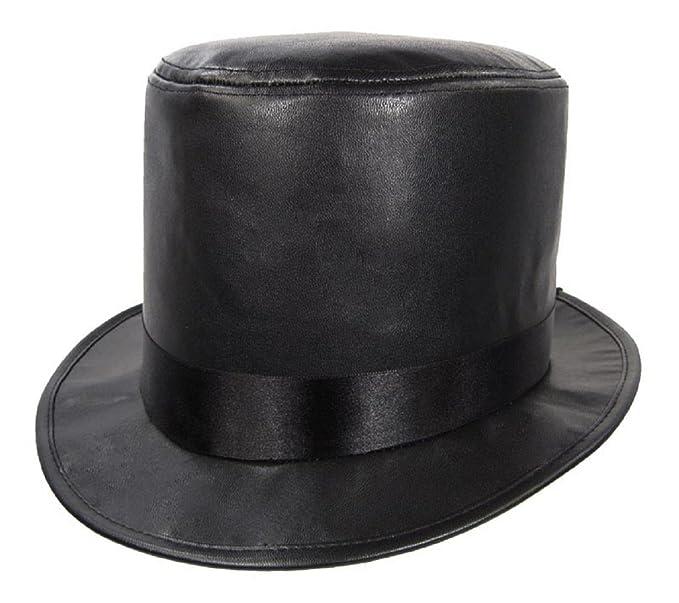 Amazon.com  Faux Leather Top Hat Black (Black)  Clothing 3524c0cb393