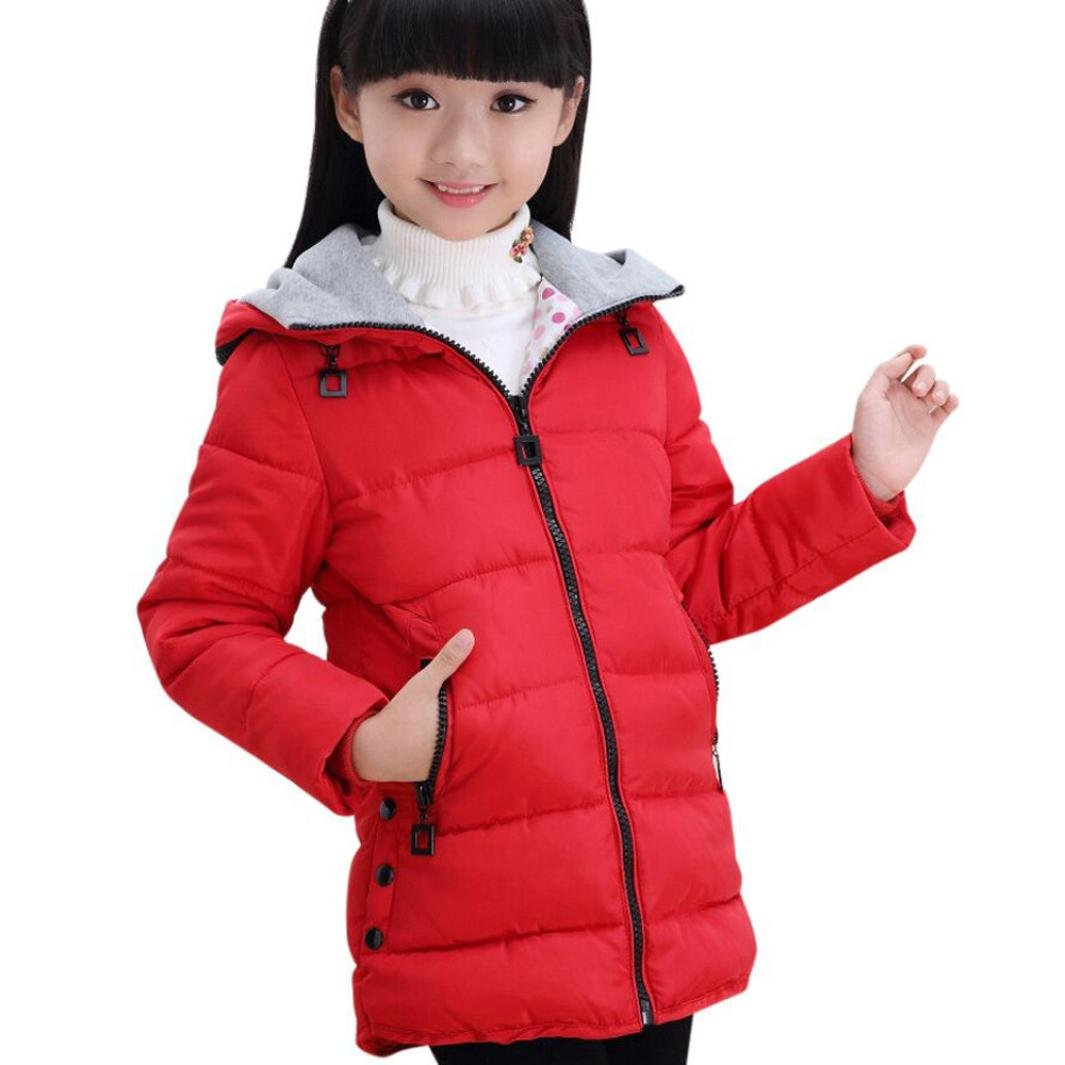 For 5-14 Years old, Clode® Big Girls Kids Knee-Long Parka Down Jacket Coat Winter Warm Children Outerwear Snowsuit Clothes Clode-T65