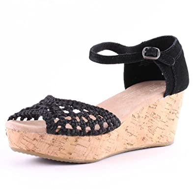 4b6d741ee1d Toms Satin Platform Wedge Womens Satin Sandals Black - 8 UK  Amazon.co.uk   Shoes   Bags