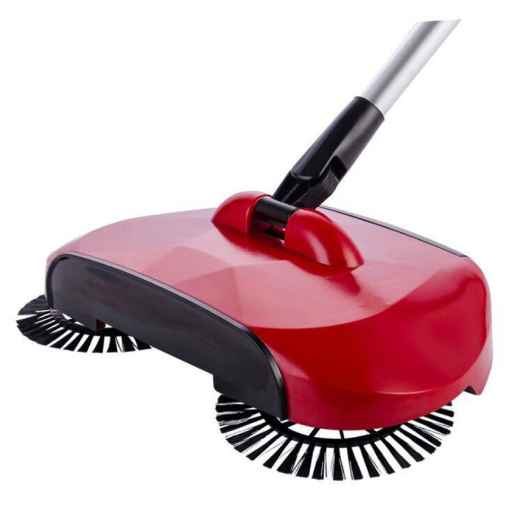 iMakcc Household Lazy Automatic Hand Push Sweeper Broom 360 Degree Rotating Cleaning Machine Sweeping Tool Without Electricity (Red)