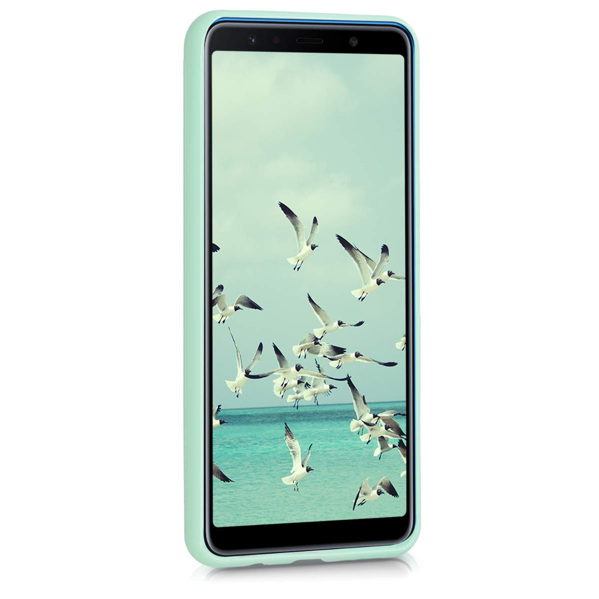 kwmobile TPU Silicone Case for Samsung Galaxy A7 (2018) - Soft Flexible Shock Absorbent Protective Phone Cover - Mint Matte