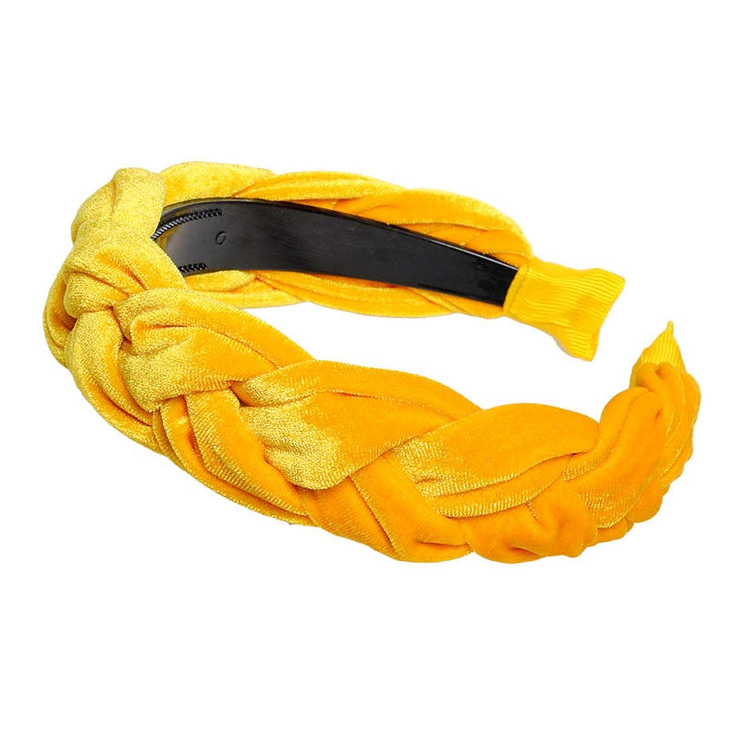 2019 New Velvet Hairband For Women Ladies Headband Solid Color Braid Hair Loop Retro Headwear Female Hair Accessories,Yellow