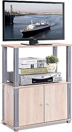 COSTWAY TV Mesa Mueble Estante Soporte Televisor Salón Estantería Almacenamiento para CD Libros DVD (Natural): Amazon.es: Hogar