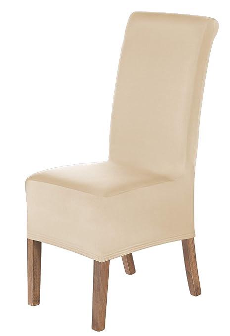 SCHEFFLER-Home Lena 2 Fundas de sillas, Estirable Cubiertas, Moderna extraíble flexibel Funda con Banda elástica, Crema