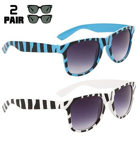 0faf9896fc6a 2 Pair HQL Fancies Party Sunglasses: 1 Light Blue 1 White Tiger Stripe  Sunglasses Animal