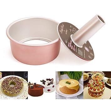 Molde de horno hueco redondo antiadherente para tartas de 15,24 cm con parte inferior extraíble rosa: Amazon.es: Hogar