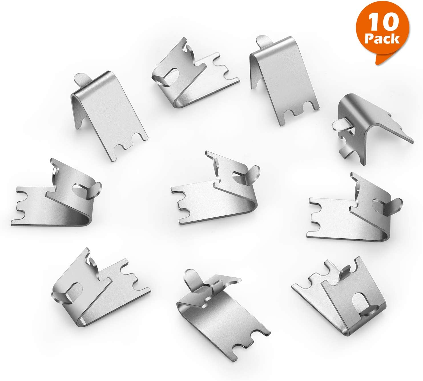 HK Freezer Shelf Clip, Fridge Cooler Shelf Support, Replacement Shelf Square Buckles Clips, Stainless Steel Hooks Shelf Clip for Refrigerator (10 Pcs)